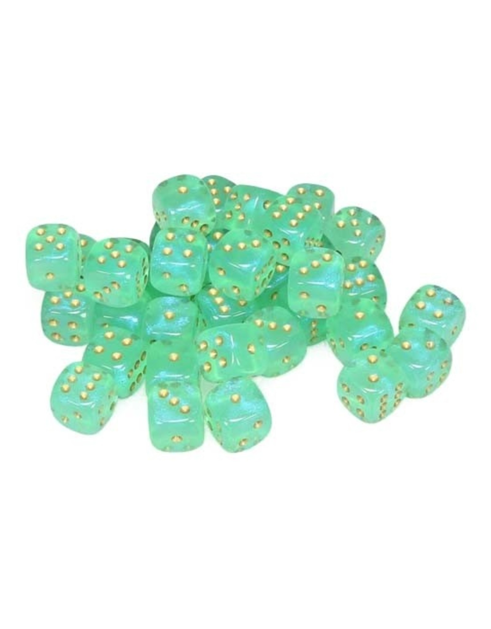 Chessex Chessex: 12mm D6 - Borealis - Light Green w/ Gold