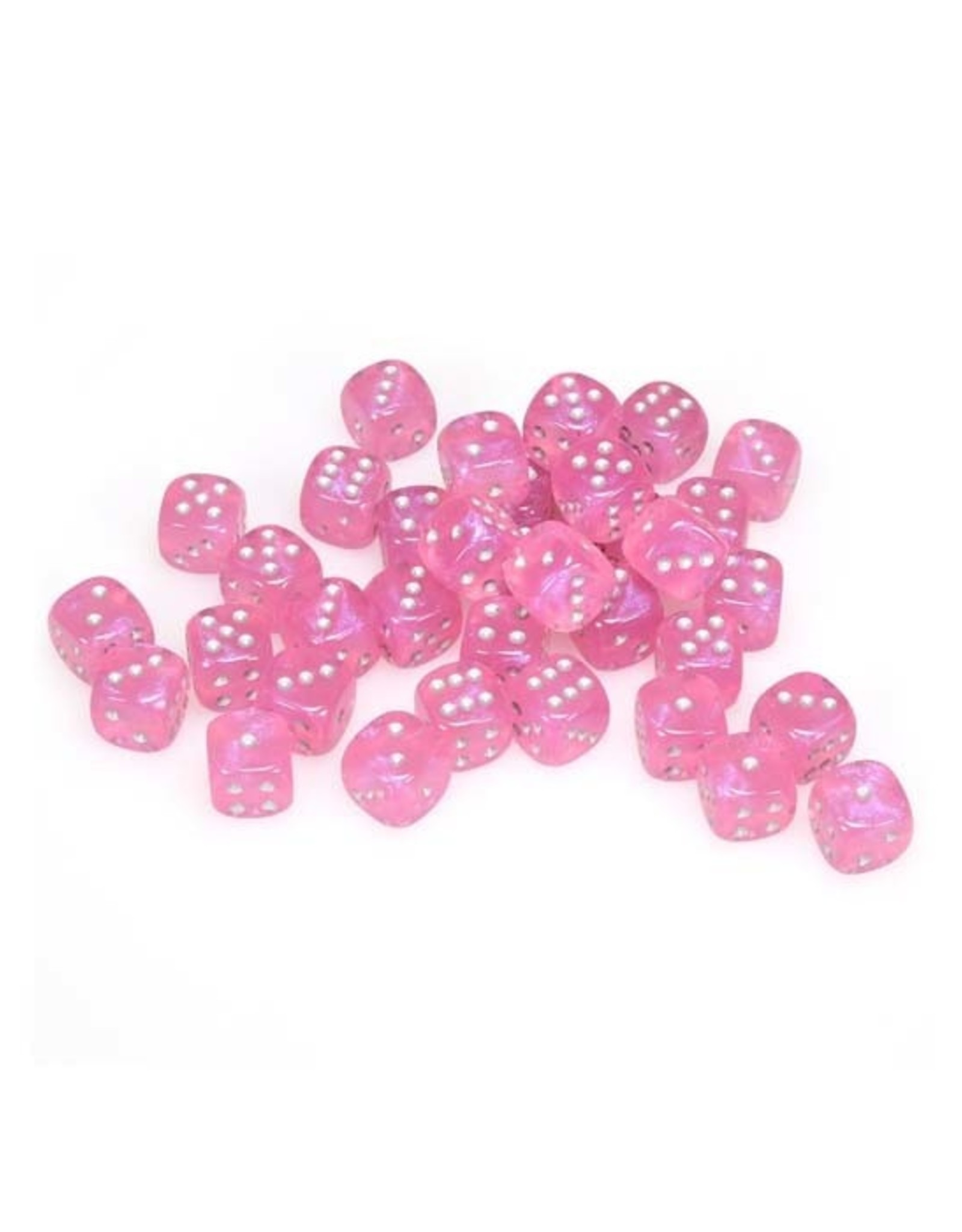 Chessex Chessex: 12mm D6 - Borealis - Pink w/ Silver