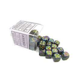 Chessex Chessex: 12mm D6 - Festive - Mosaic w/ Yellow