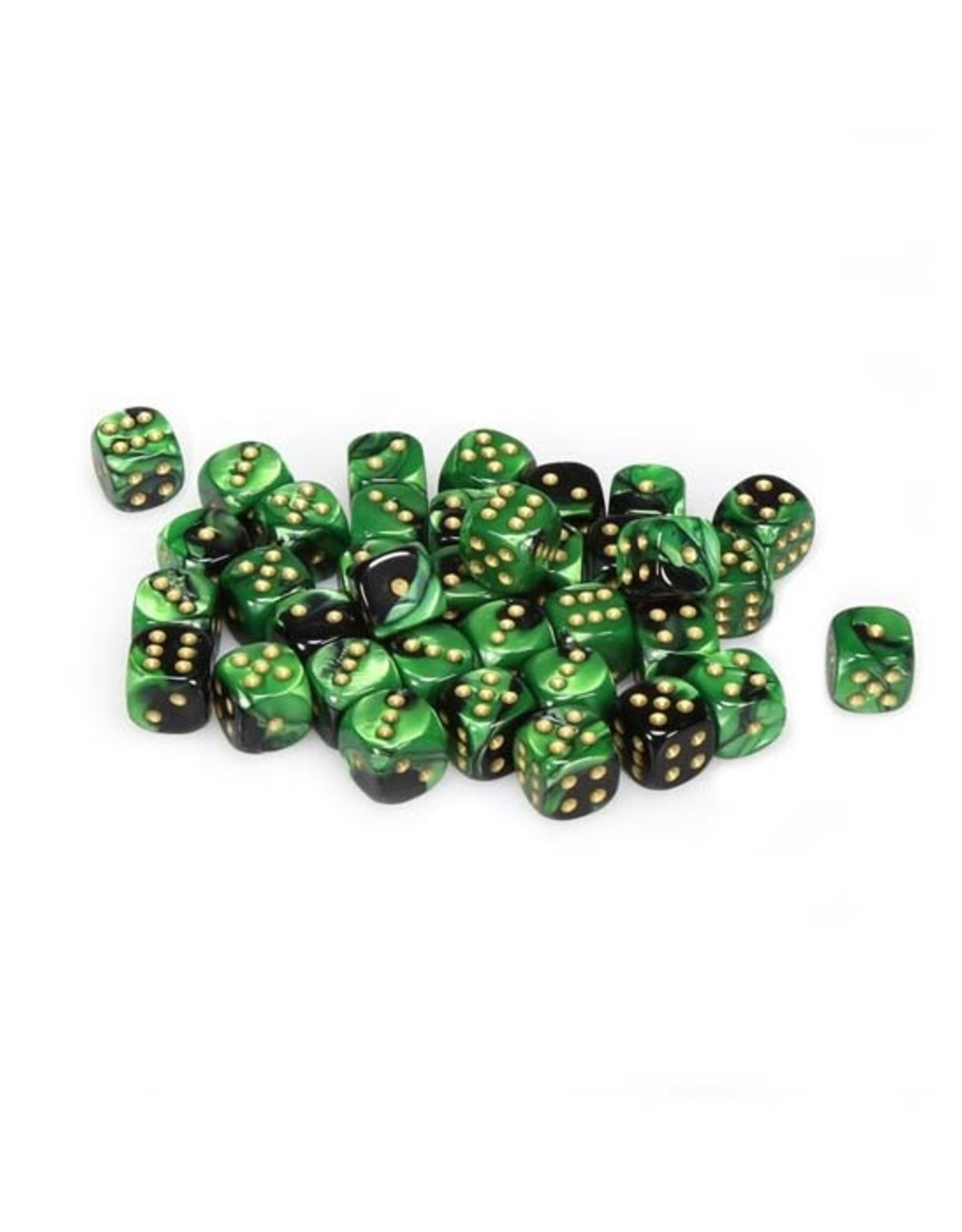 Chessex Chessex: 12mm D6 - Gemini - Black Green w/ Gold