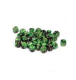 Chessex Chessex: 12mm D6 - Gemini - Black Green w/ Gold