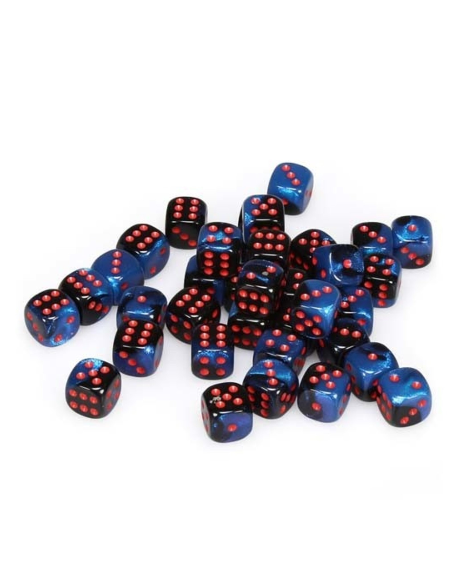Chessex Chessex: 12mm D6 - Gemini - Black Starlight w/ Red