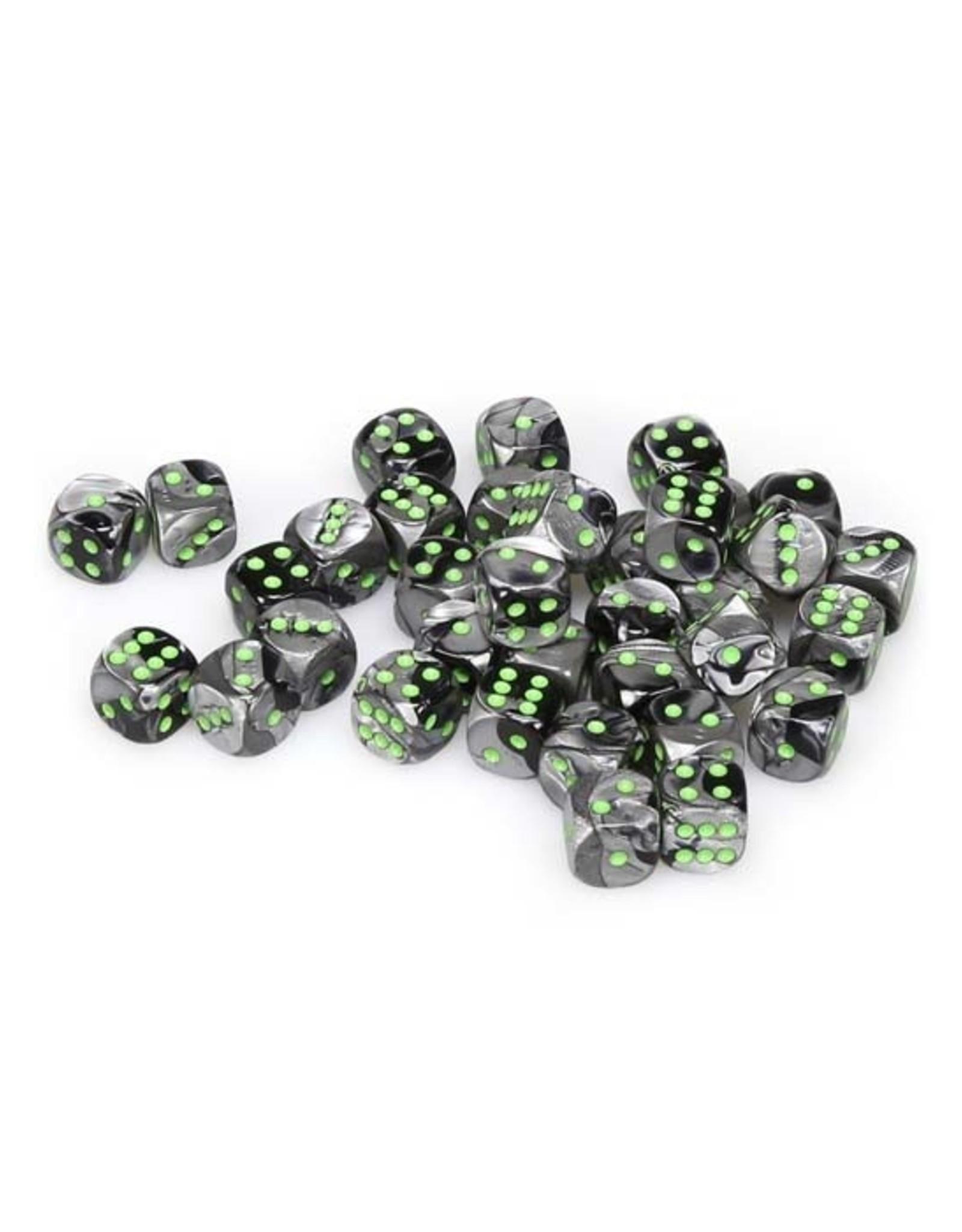 Chessex Chessex: 12mm D6 - Gemini - Black-Grey w/ Green