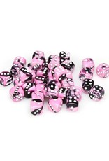 Chessex Chessex: 12mm D6 - Gemini - Black-Pink w/ White