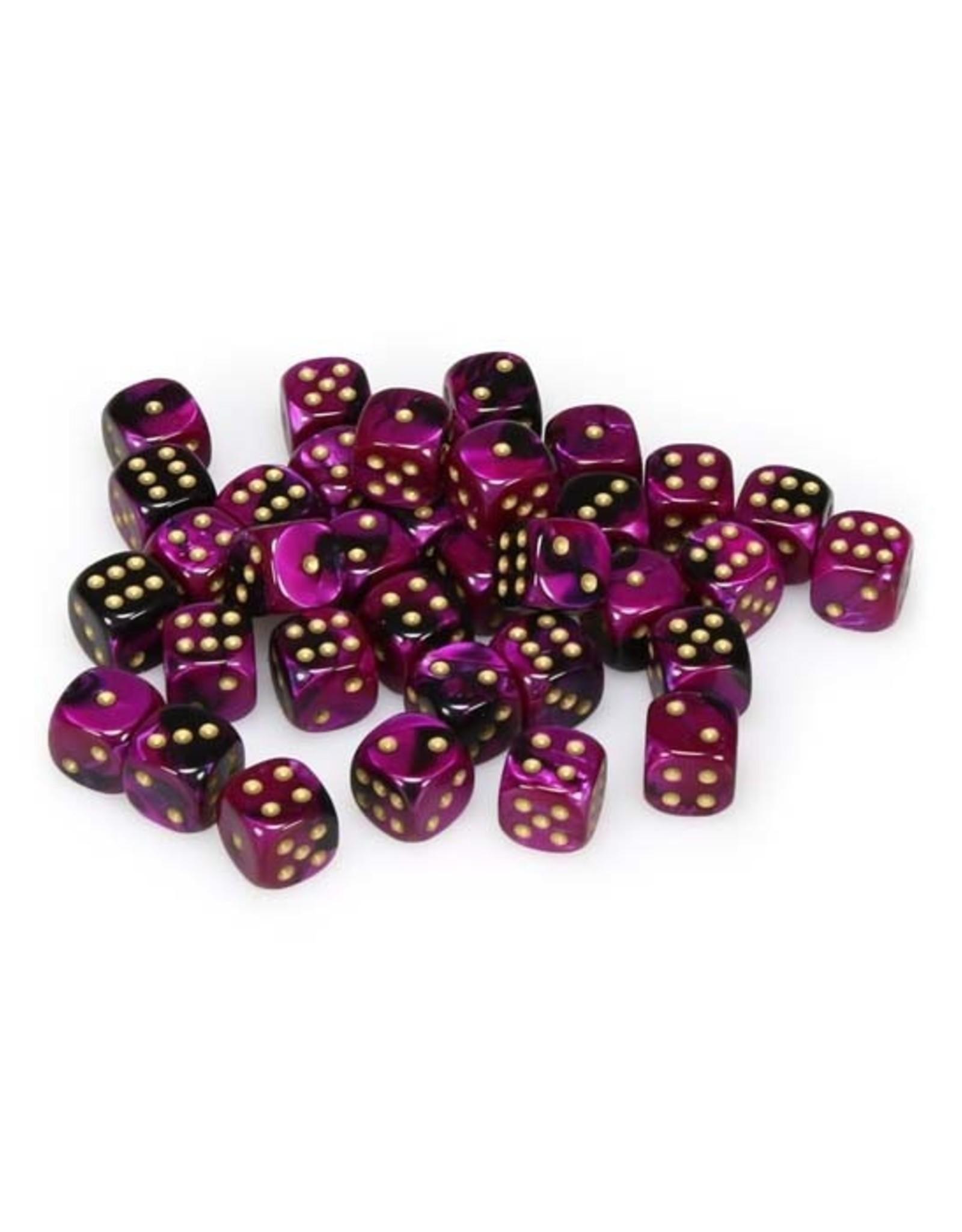 Chessex Chessex: 12mm D6 - Gemini - Black-Purple w/ Gold
