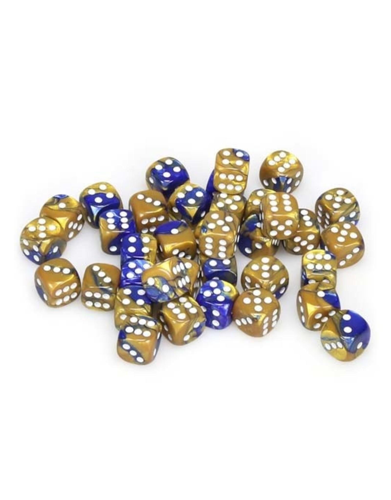 Chessex Chessex: 12mm D6 - Gemini - Blue-Gold w/ White