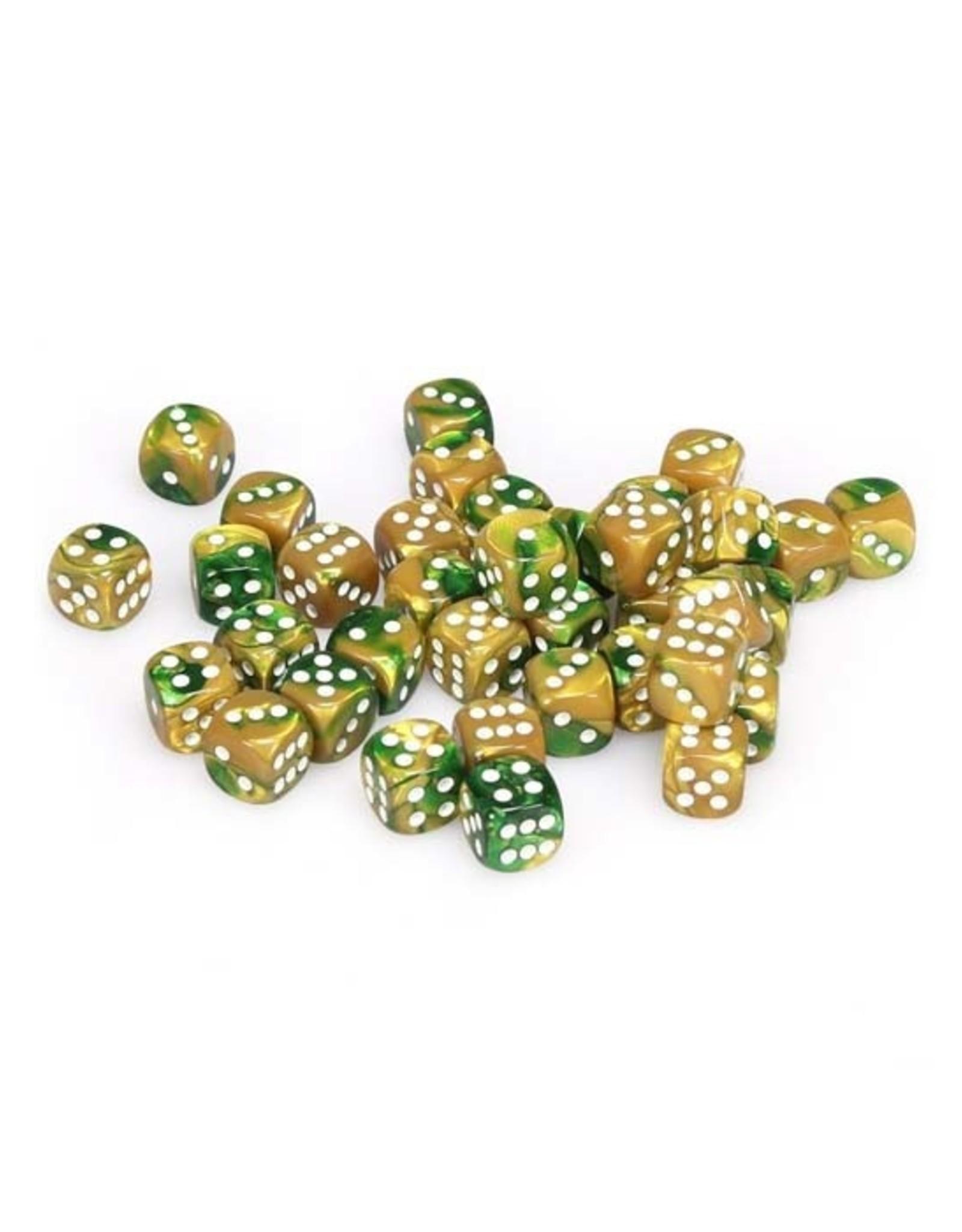 Chessex Chessex: 12mm D6 - Gemini - Gold-Green w/ White