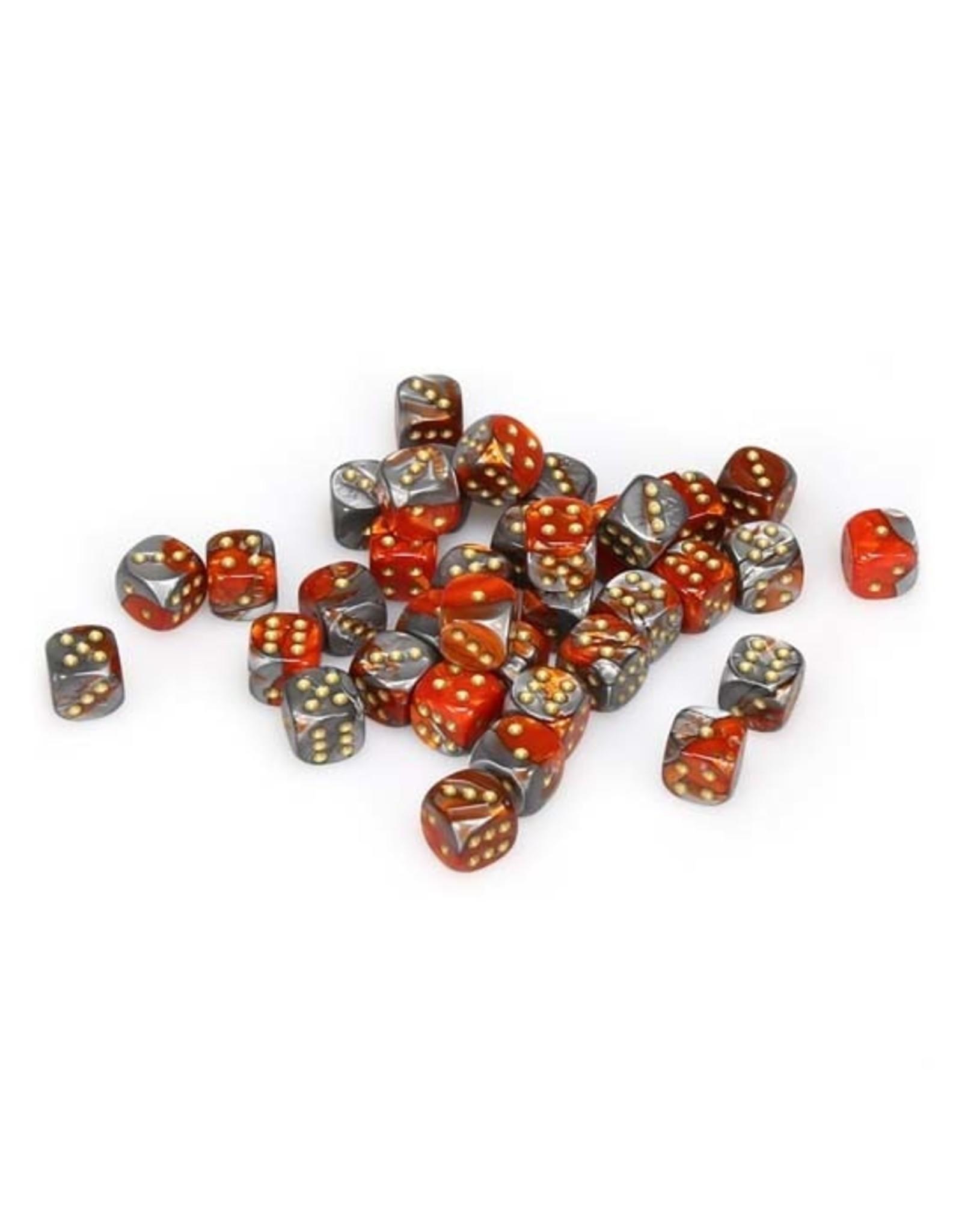 Chessex Chessex: 12mm D6 - Gemini - Orange-Steel w/ Gold