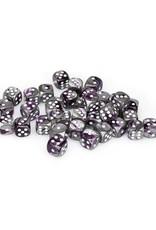 Chessex Chessex: 12mm D6 - Gemini - Purple-Steel w/ White