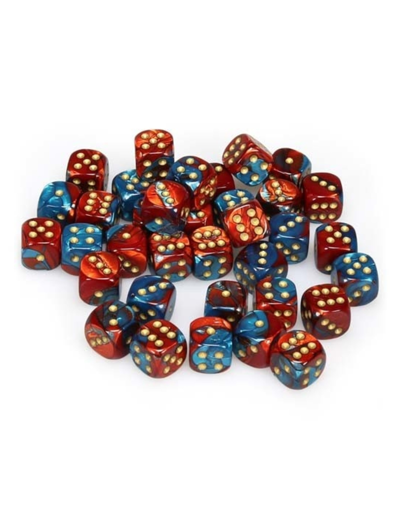 Chessex Chessex: 12mm D6 - Gemini - Red-Teal w/ Gold