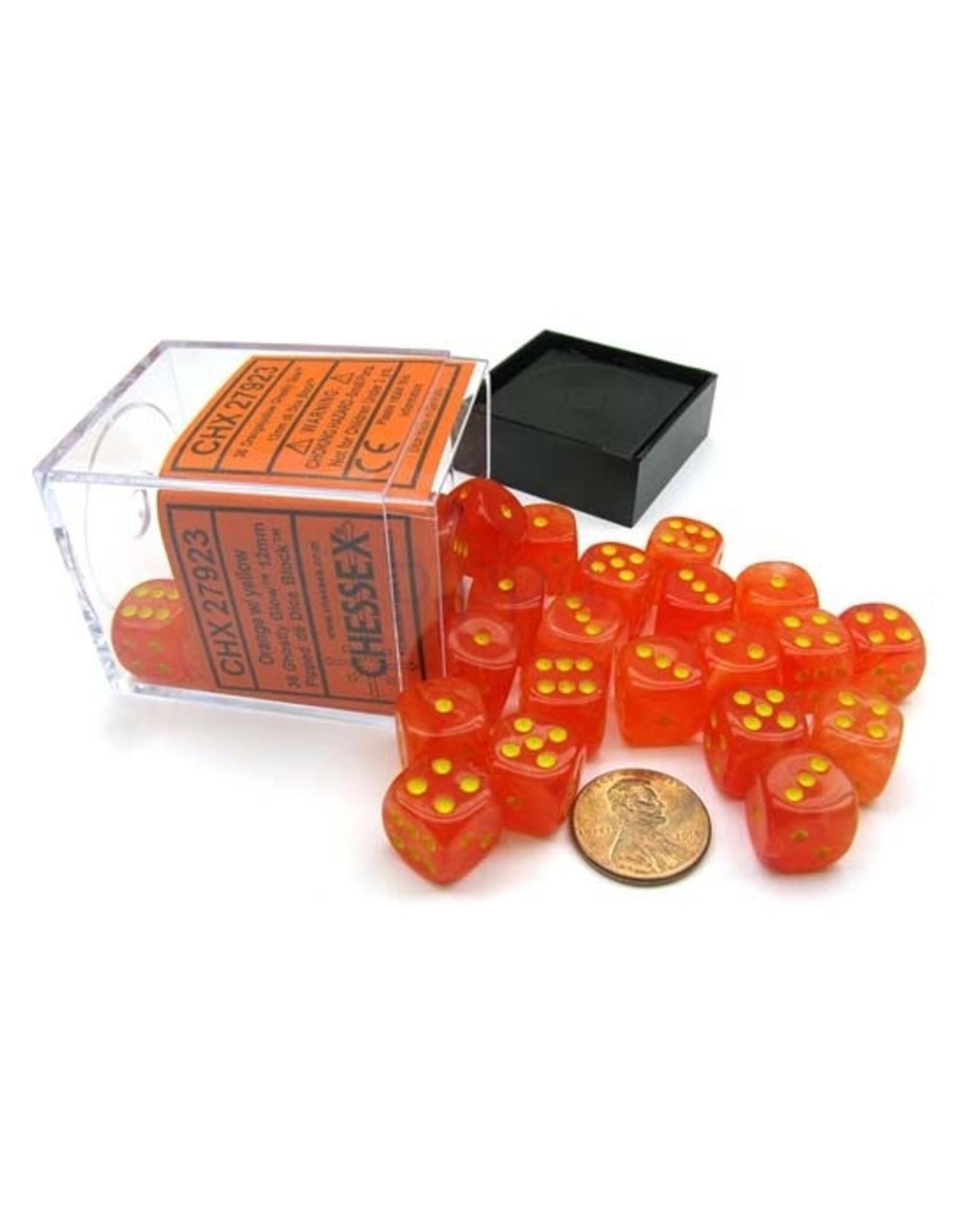 Chessex Chessex: 12mm D6 - Ghostly Glow - Orange w/ Yellow