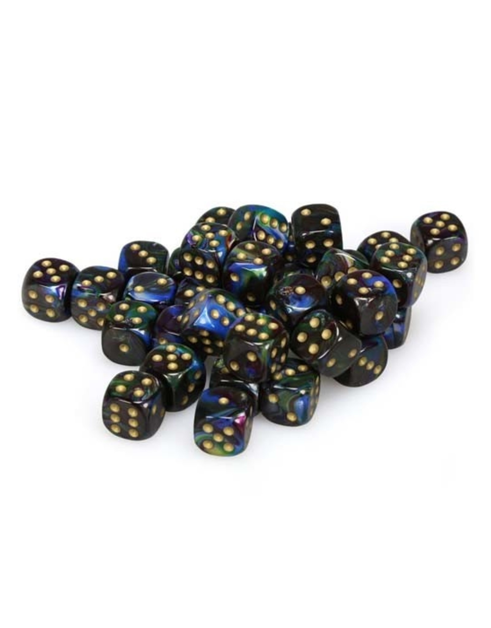 Chessex Chessex: 12mm D6 - Lustrous - Shadow w/ Gold