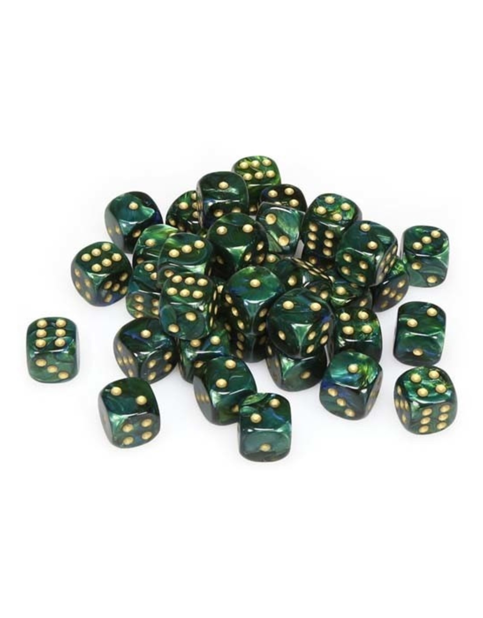Chessex Chessex: 12mm D6 - Scarab - Jade w/ Gold