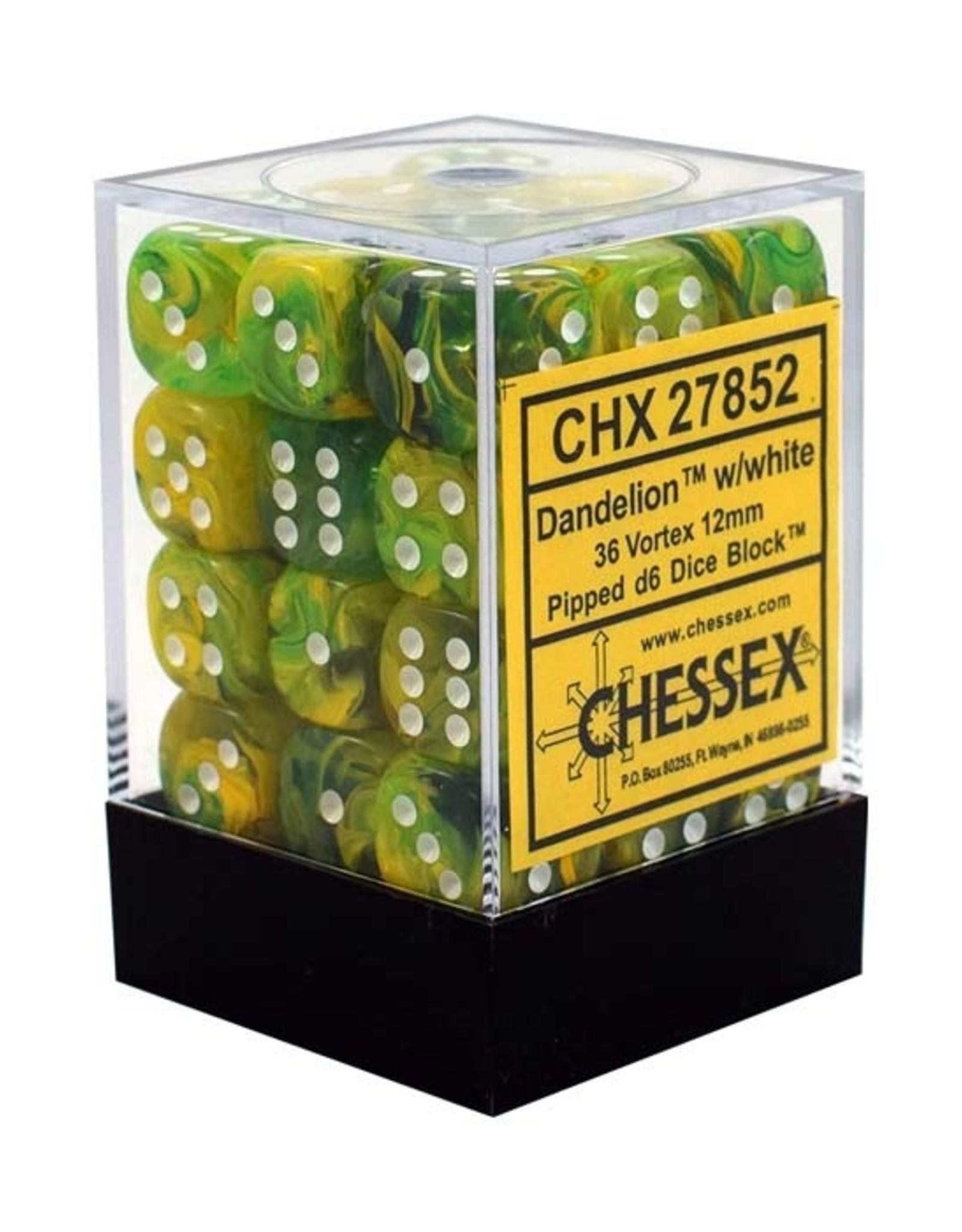 Chessex Chessex: 12mm D6 - Vortex - Dandelion w/ White