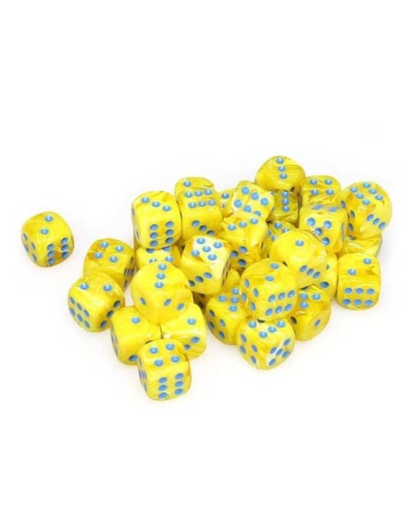 Chessex Chessex: 12mm d6 - Vortex - Yellow w/ Blue