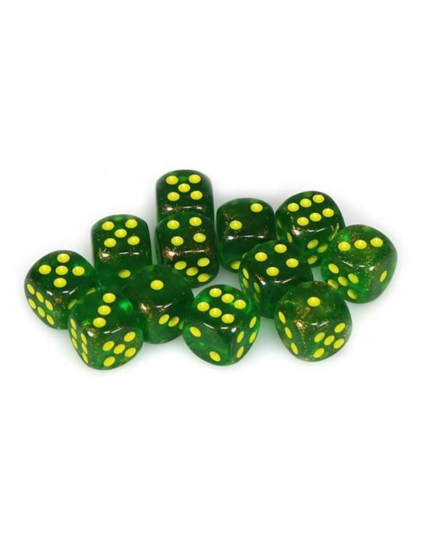 Chessex Chessex: 16mm D6 - Borealis - Maple Green w/ Yellow