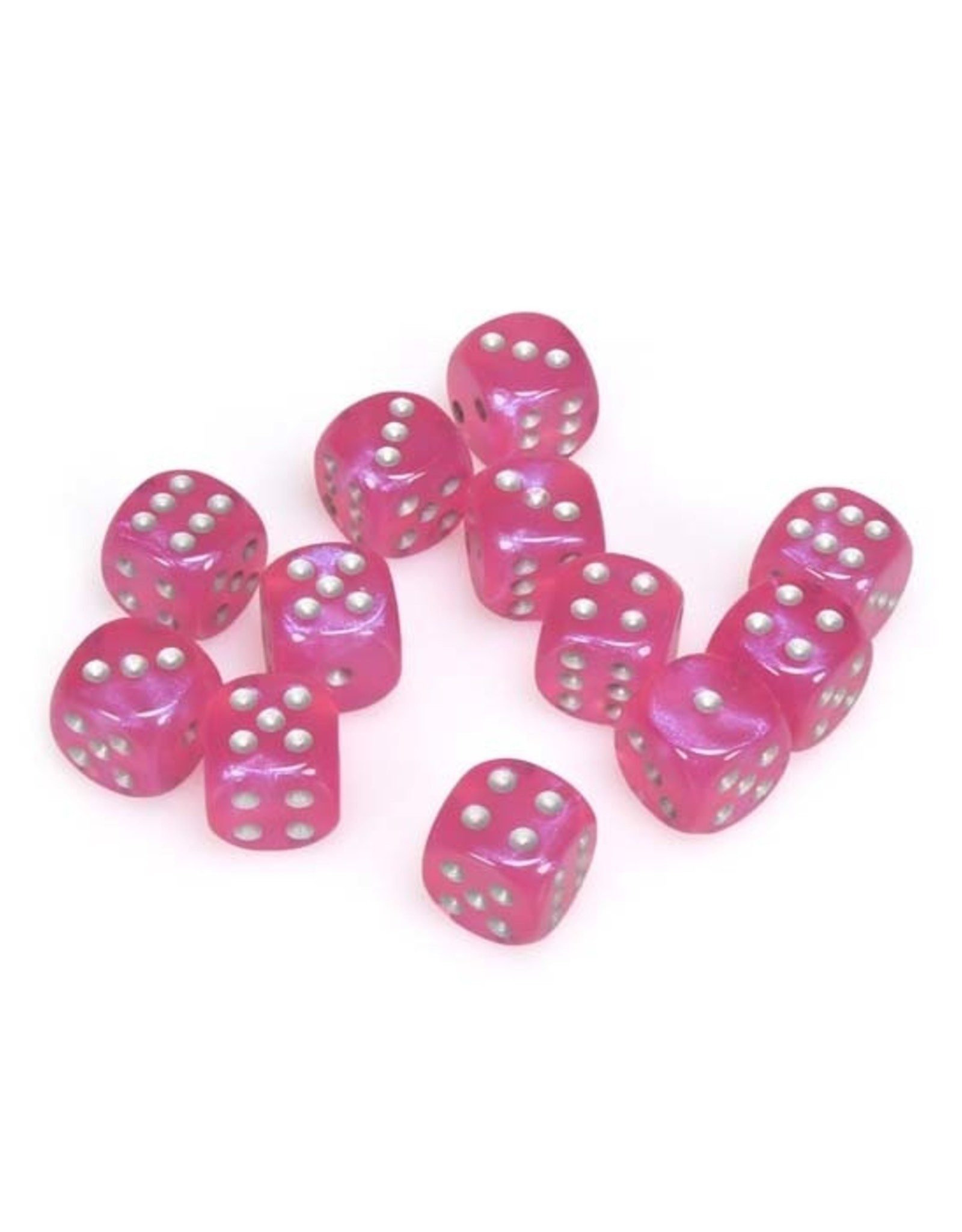 Chessex Chessex: 16mm D6 - Borealis - Pink w/ Silver