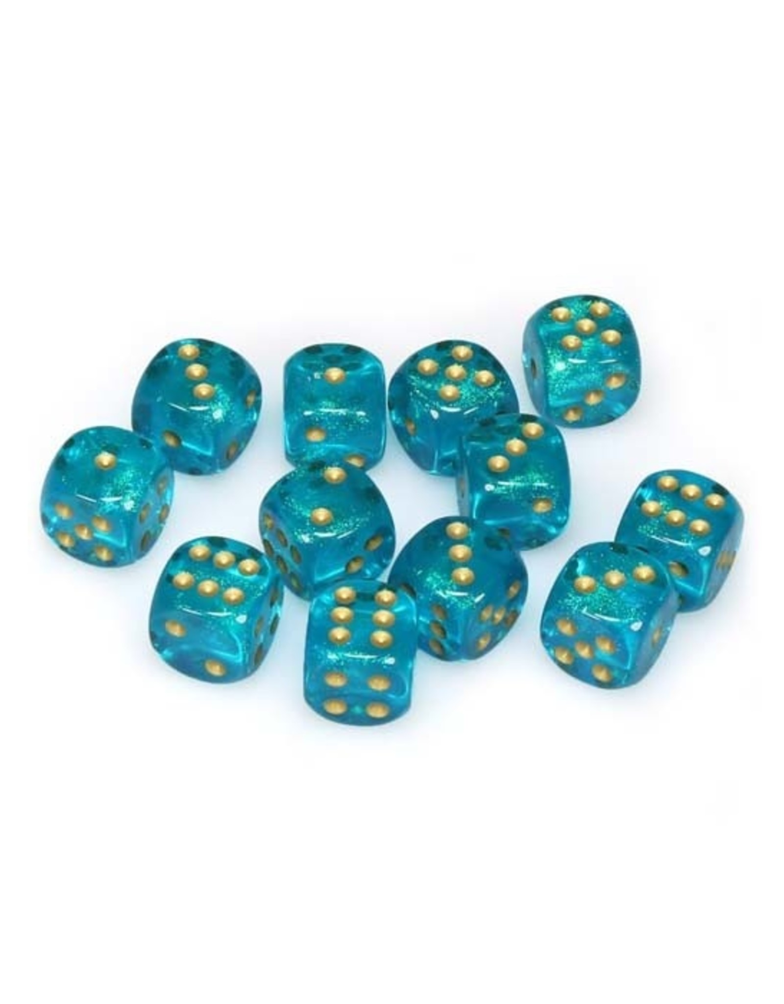 Chessex Chessex: 16mm D6 - Borealis - Teal w/ Gold