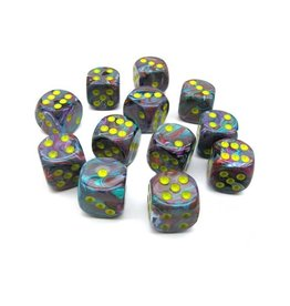 Chessex Chessex: 16mm D6 - Festive - Mosaic w/ Yellow
