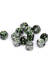 Chessex Chessex: 16mm D6 - Gemini - Black-Grey w/ Green