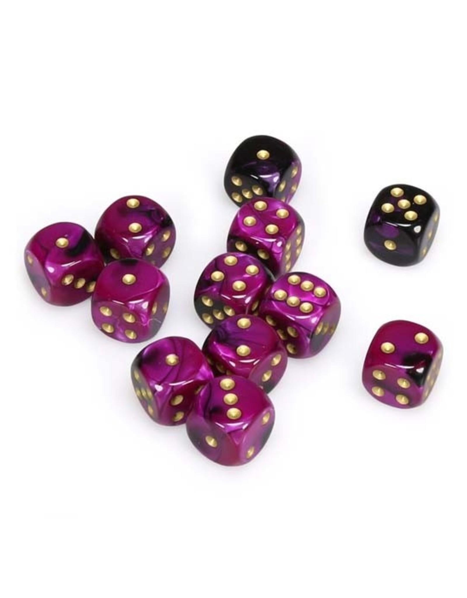 Chessex Chessex: 16mm D6 - Gemini - Black-Purple w/ Gold