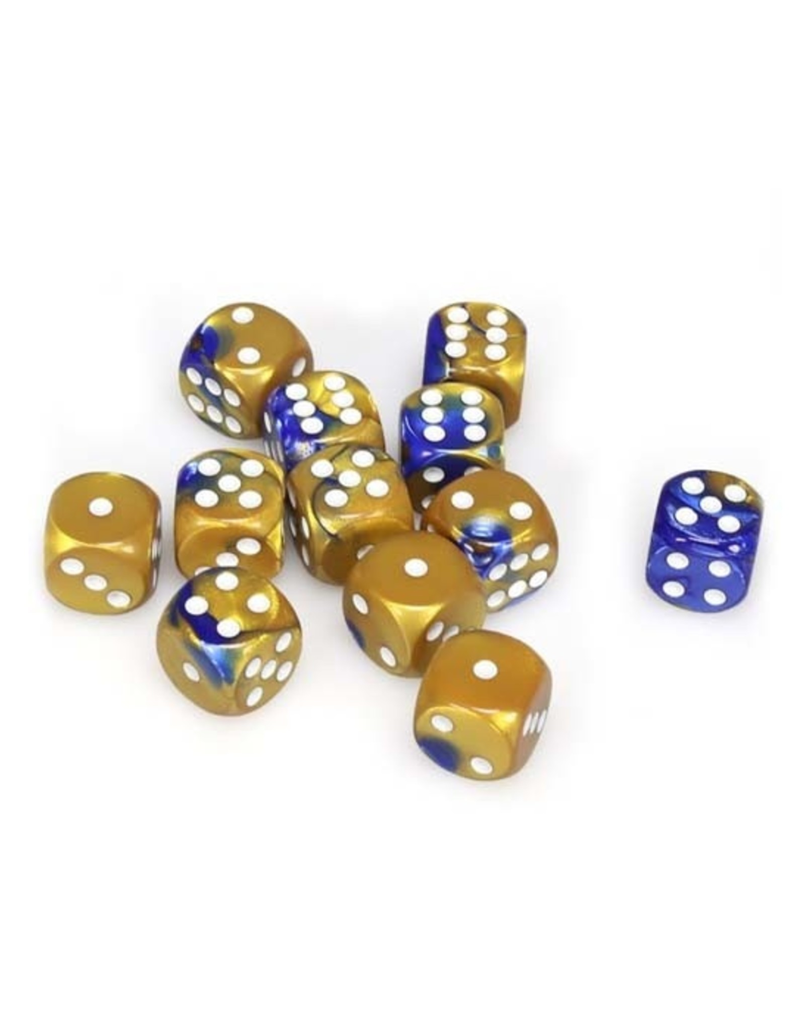 Chessex Chessex: 16mm D6 - Gemini - Blue-Gold w/ White