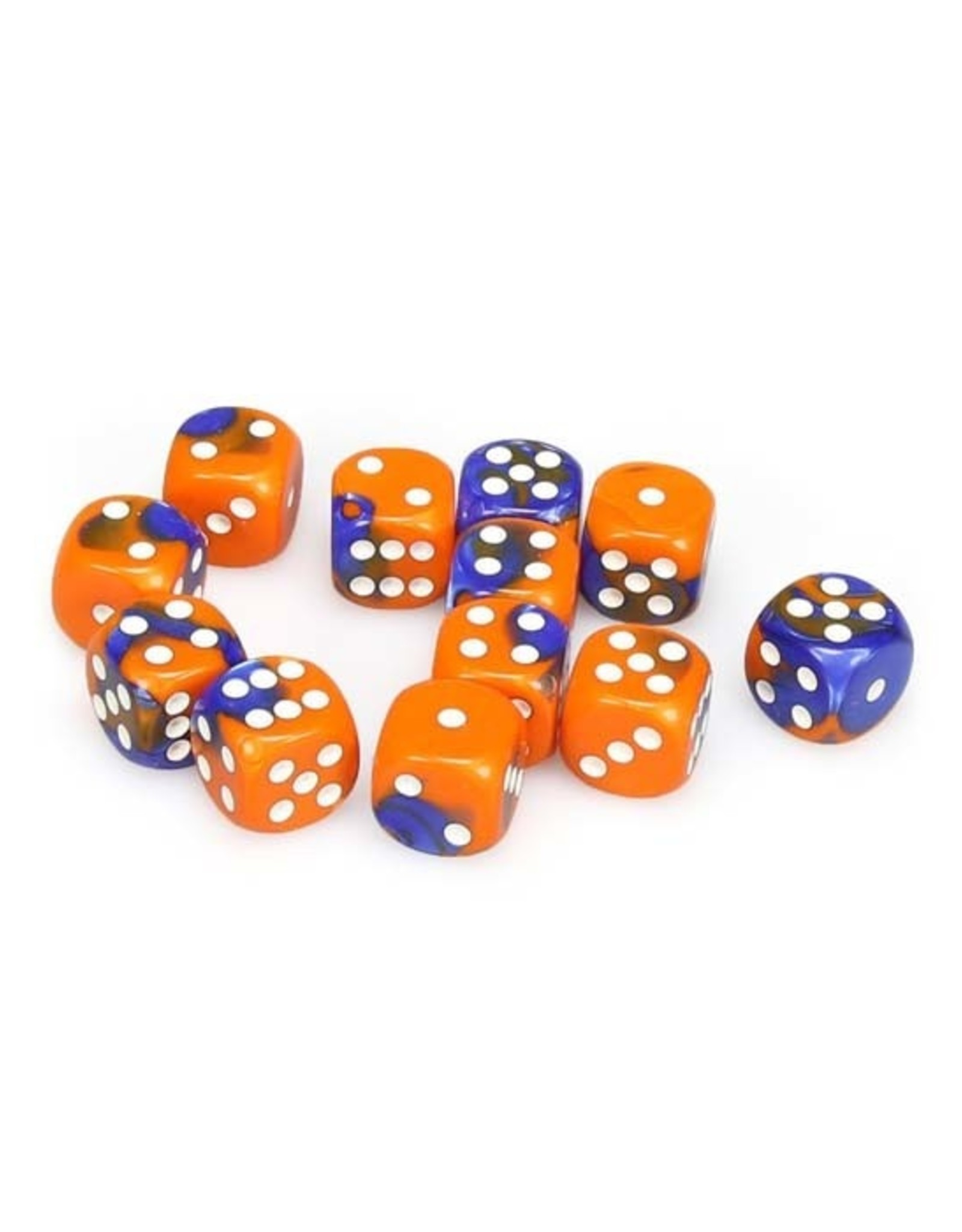Chessex Chessex: 16mm D6 - Gemini - Blue-Orange w/ White