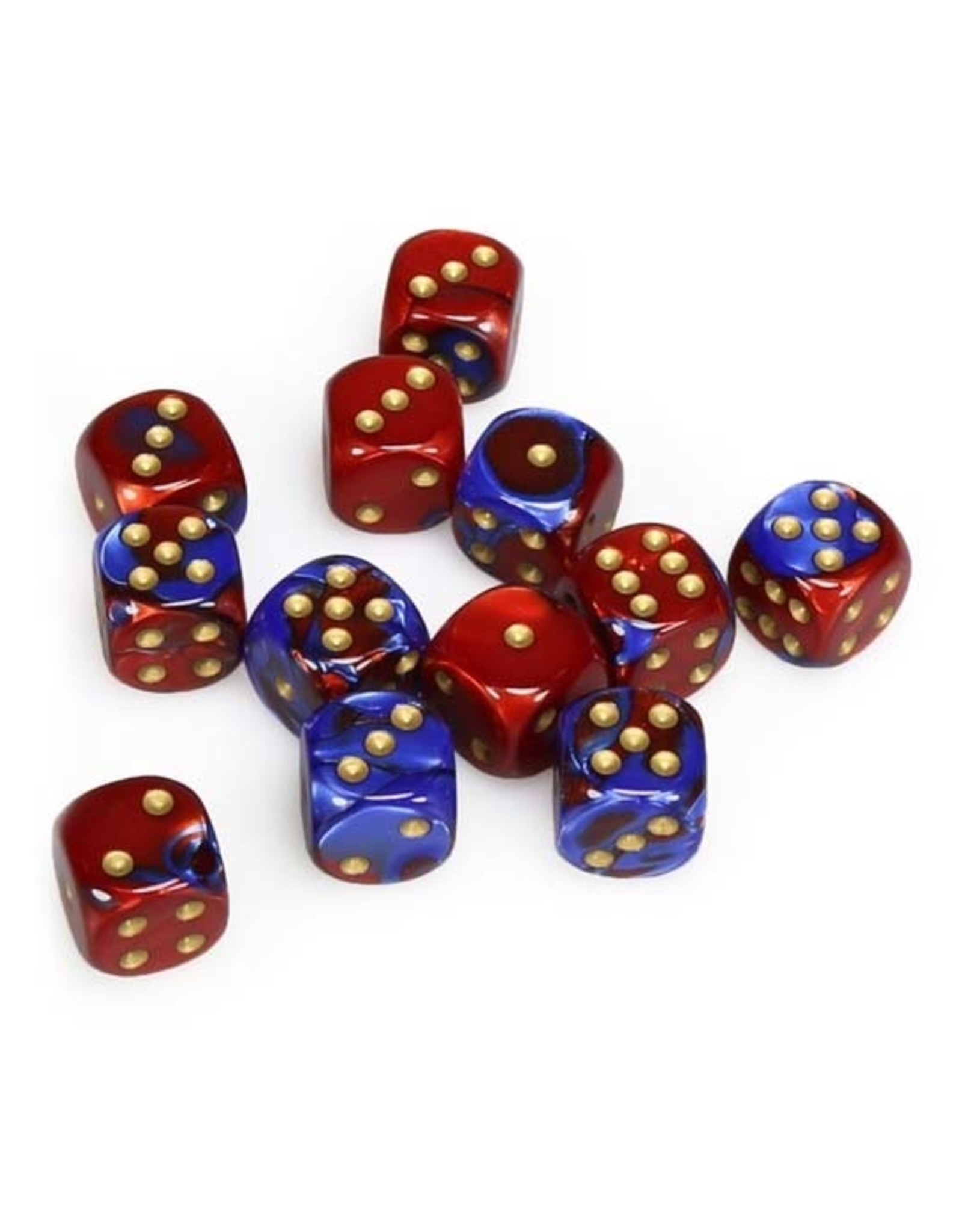 Chessex Chessex: 16mm D6 - Gemini - Blue-Red w/ Gold