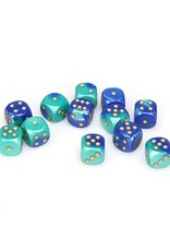 Chessex Chessex: 16mm D6 - Gemini - Blue-Teal w/ Gold