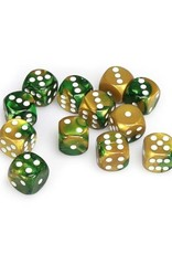 Chessex Chessex: 16mm D6 - Gemini - Gold-Green w/ White