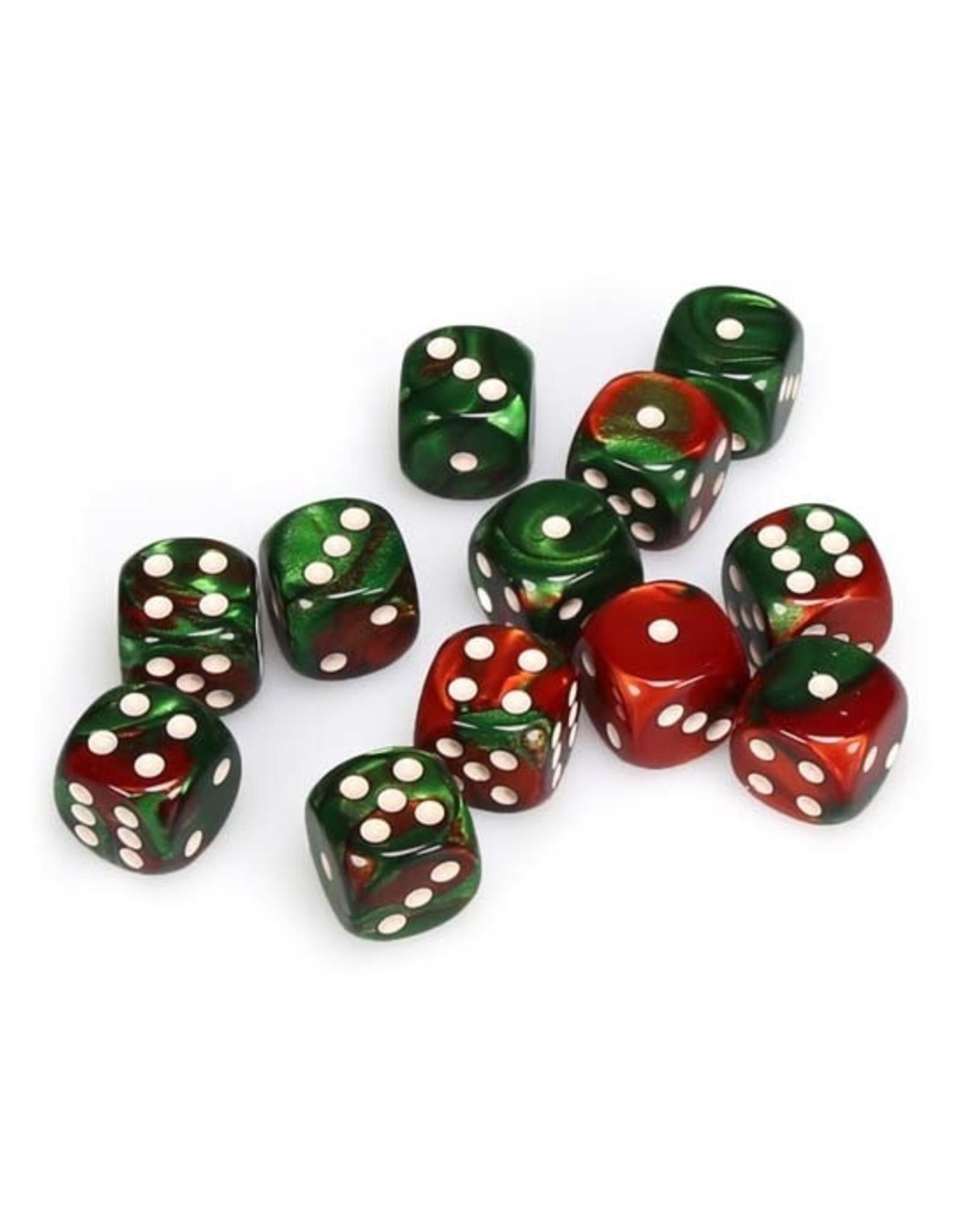 Chessex Chessex: 16mm D6 - Gemini - Green-Red w/ White