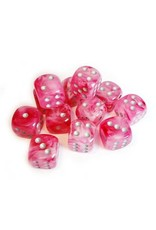 Chessex Chessex: 16mm D6 - Ghostly Glow - Pink w/ Silver