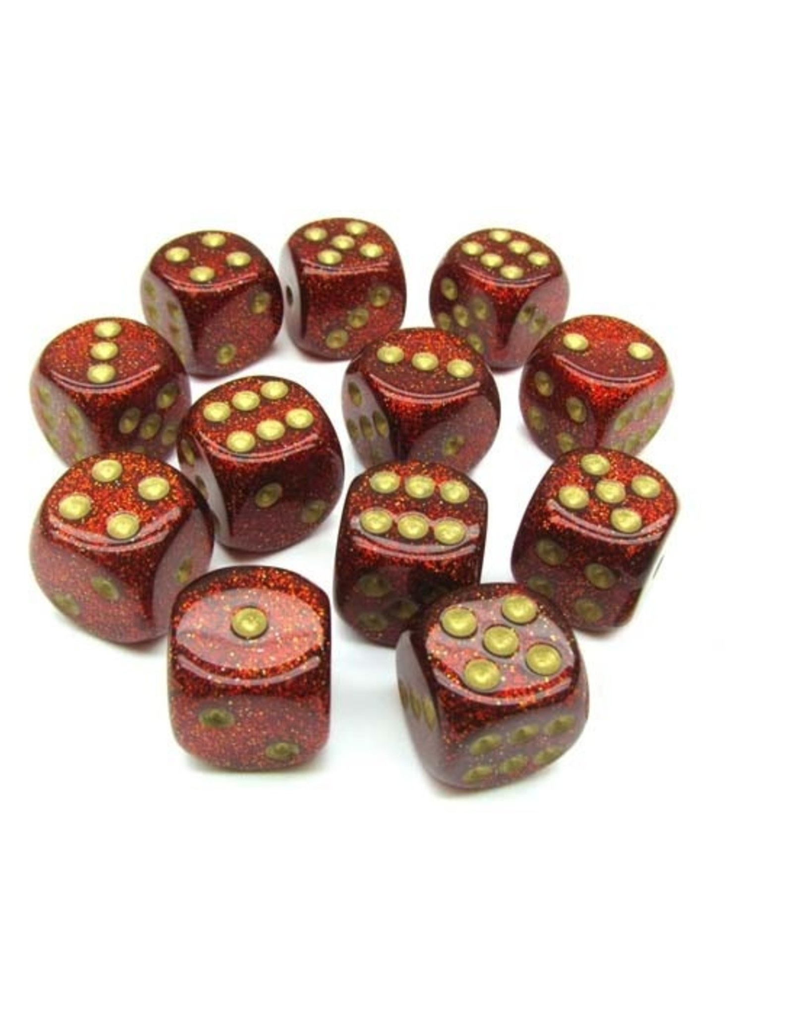 Chessex Chessex: 16mm D6 - Glitter - Ruby w/ Gold