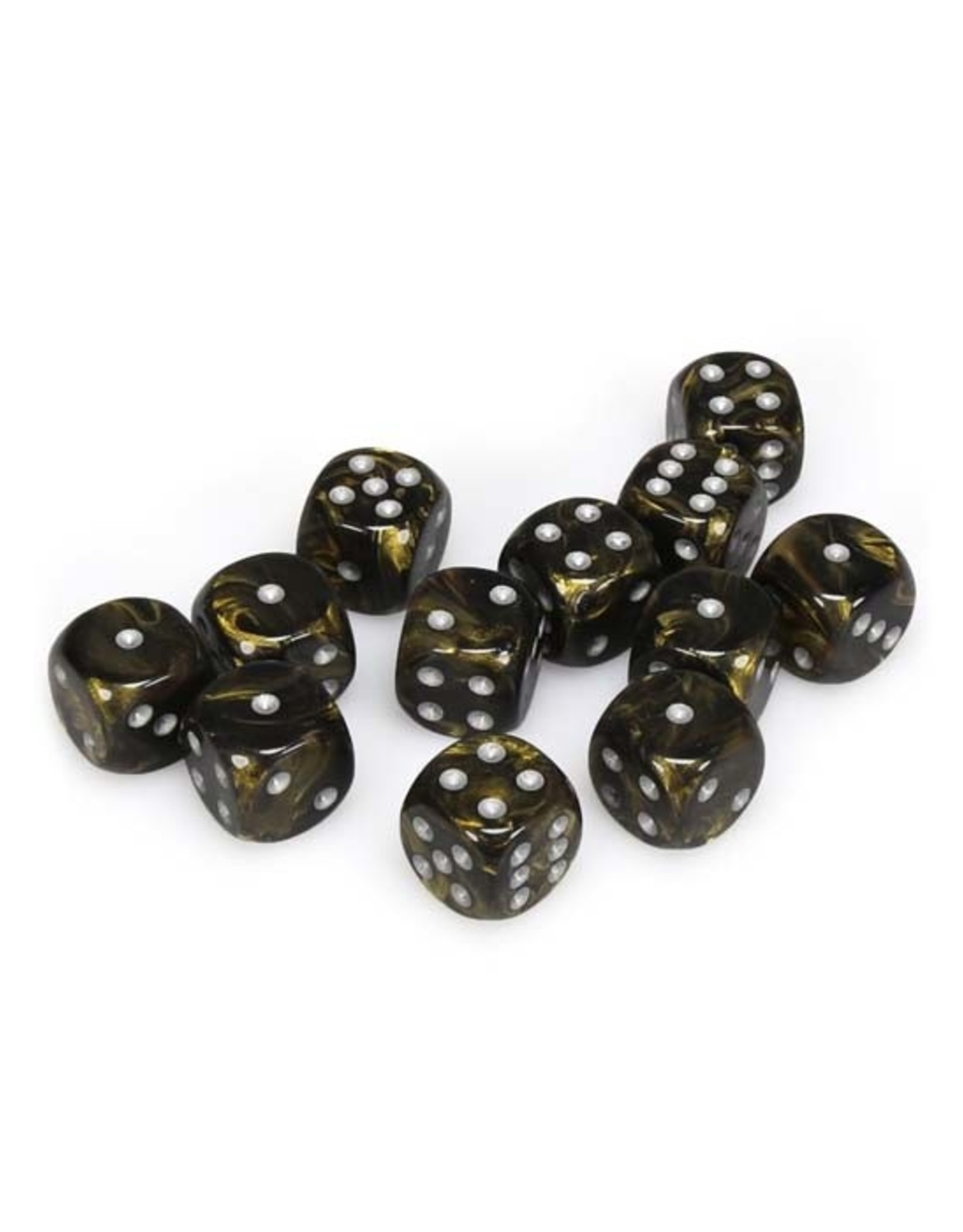 Chessex Chessex: 16mm D6 - Leaf - Black-Gold w/ Silver