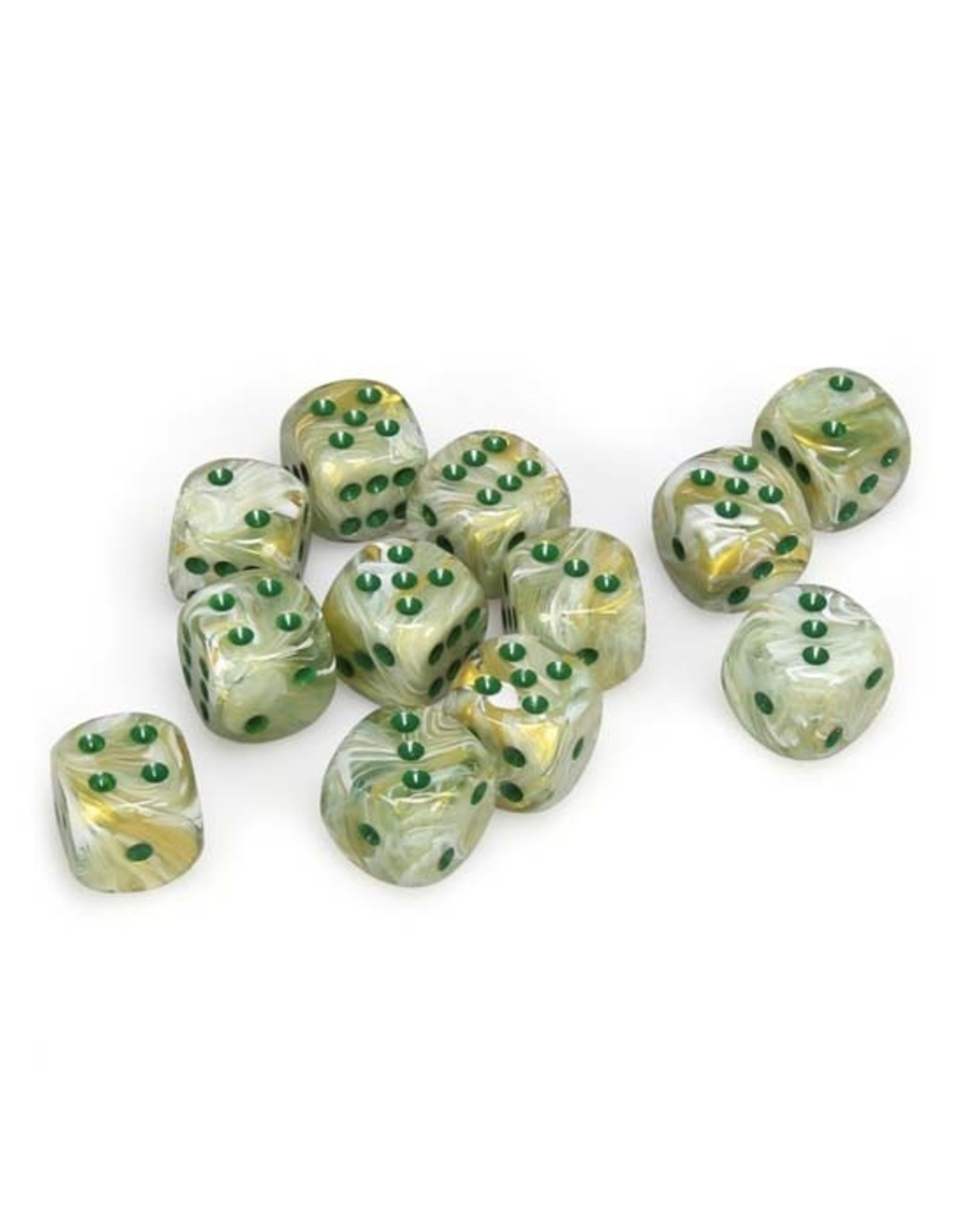 Chessex Chessex: 16mm D6 - Marble - Green w/ Dark Green