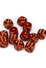 Chessex Chessex: 16mm D6 - Scarab - Scarlet w/ Gold