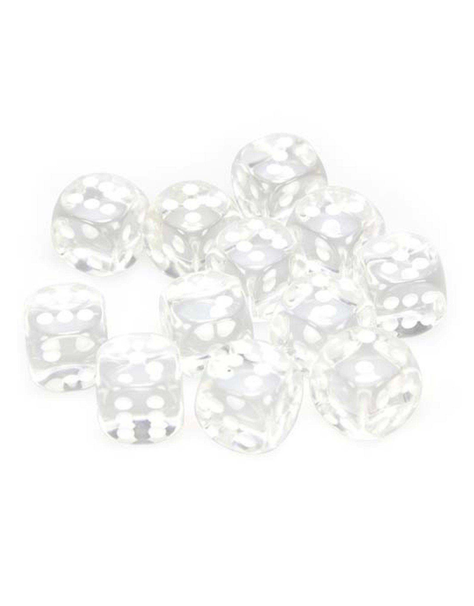 Chessex Chessex: 16mm D6 - Translucent - Clear w/ White