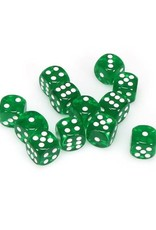 Chessex Chessex: 16mm D6 - Translucent - Green w/ White
