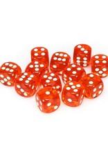 Chessex Chessex: 16mm D6 - Translucent - Orange w/ White