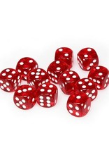 Chessex Chessex: 16mm D6 - Translucent - Red w/ White