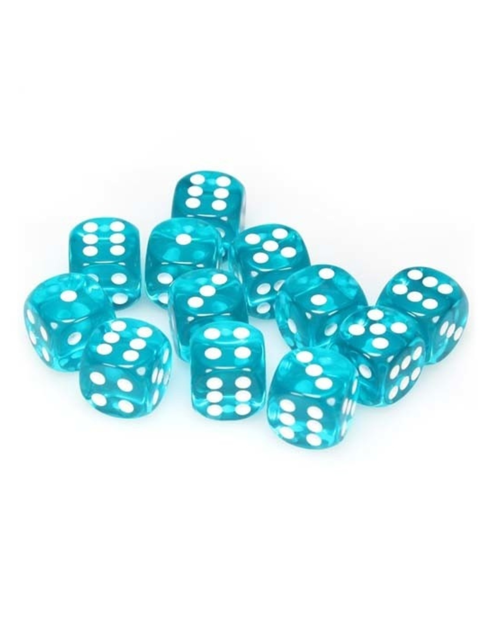 Chessex Chessex: 16mm D6 - Translucent - Teal w/ White