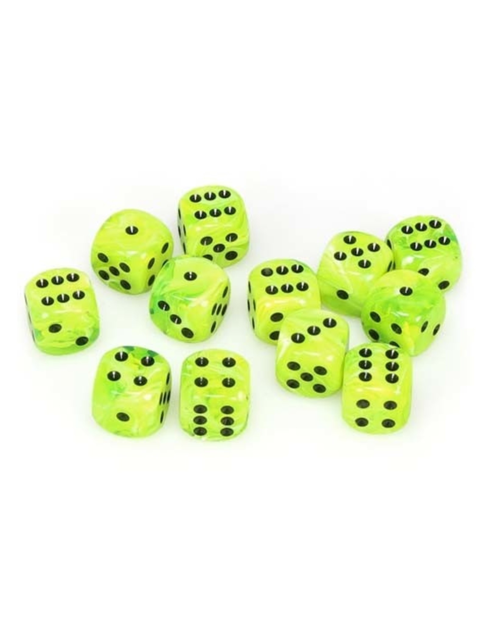 Chessex Chessex: 16mm D6 - Vortex - Bright Green w/ Black