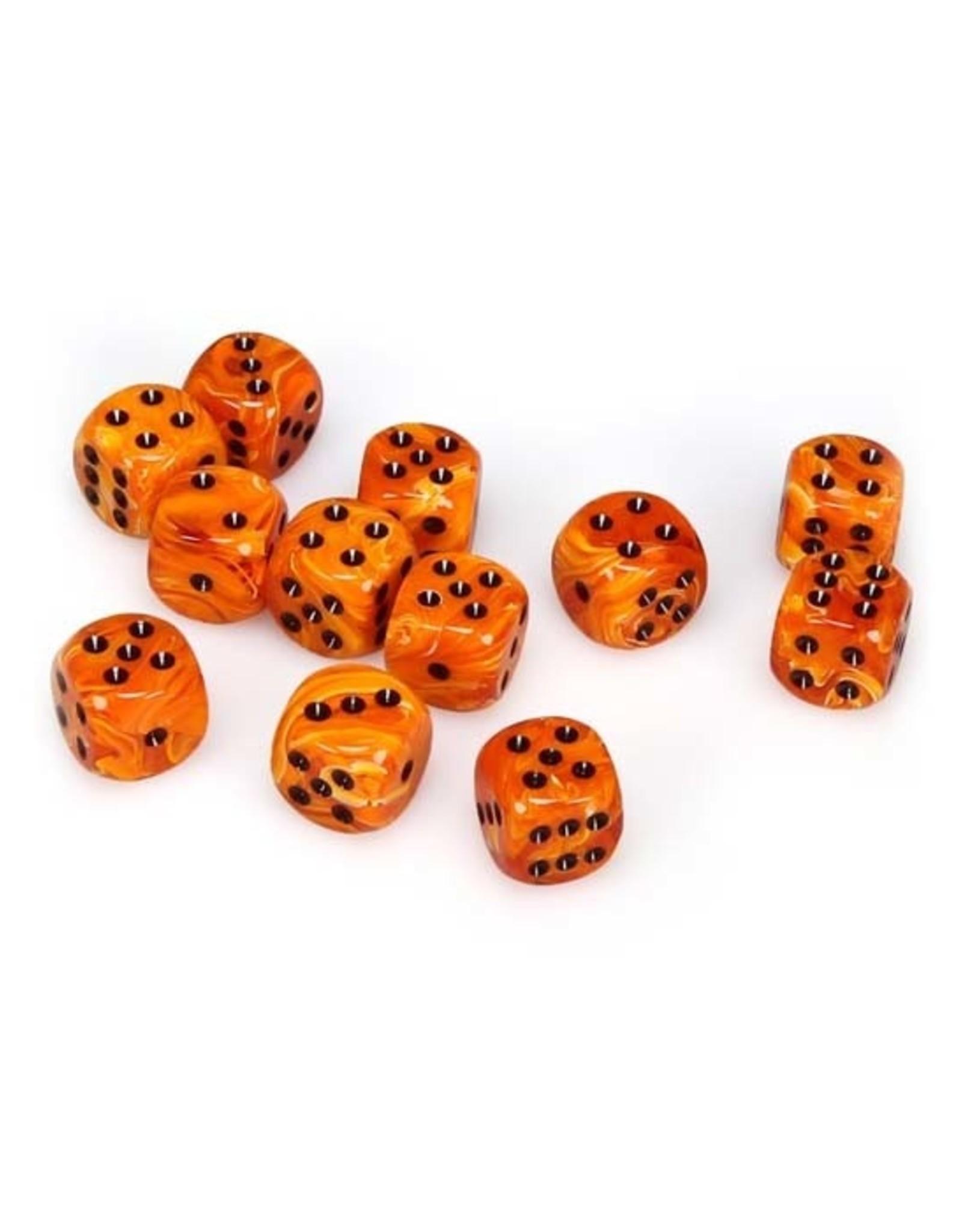 Chessex Chessex: 16mm D6 - Vortex - Orange w/ Black