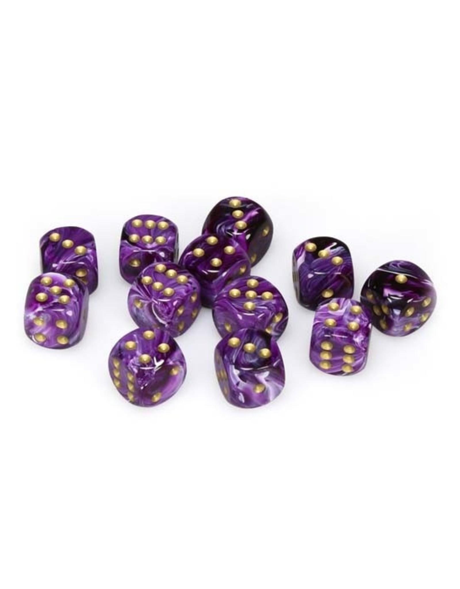 Chessex Chessex: 16mm D6 - Vortex - Purple w/ Gold