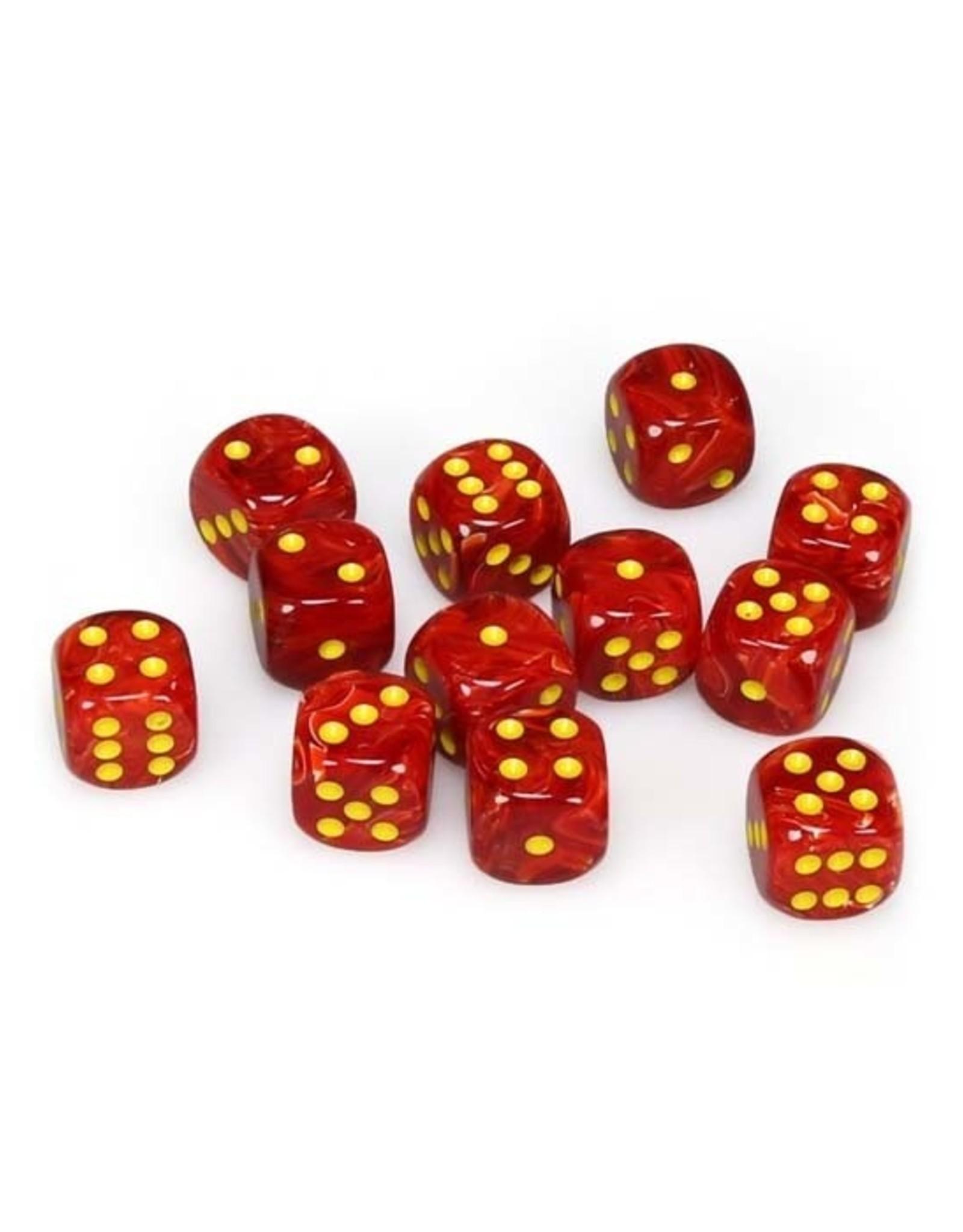 Chessex Chessex: 16mm D6 - Vortex - Red w/ Yellow