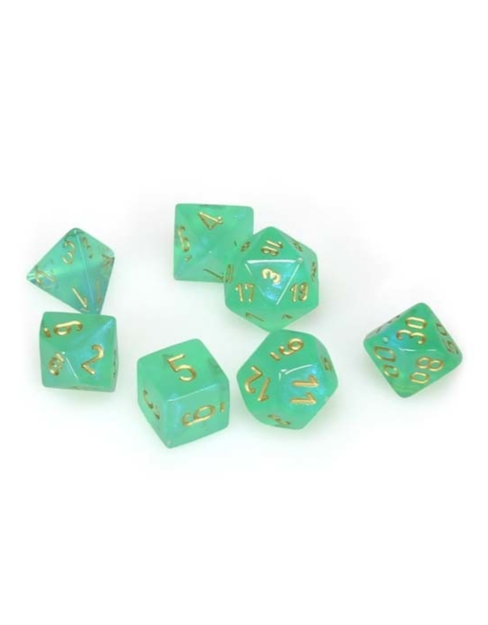 Chessex Chessex: Poly 7 Set - Borealis - Light Green w/ Gold