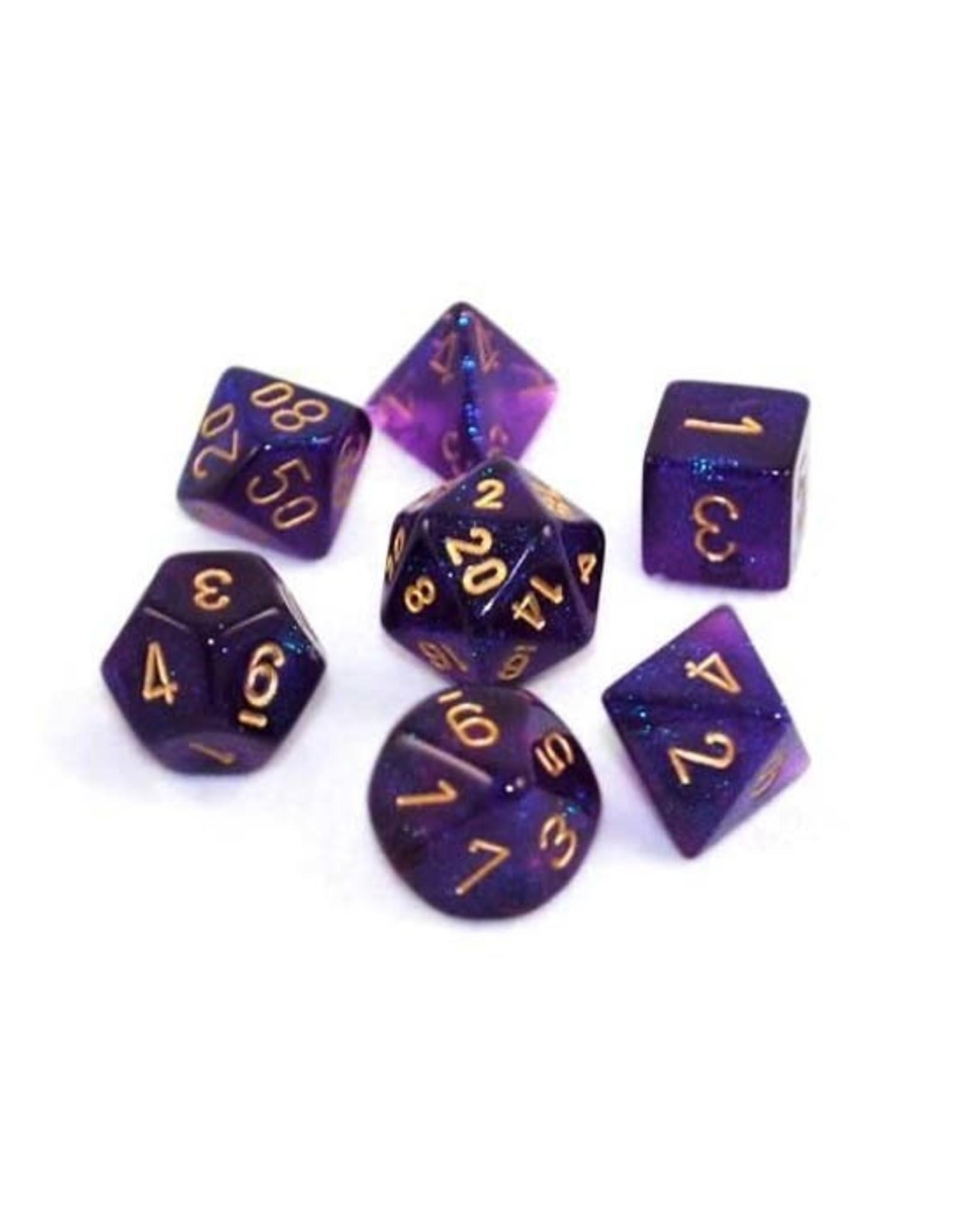 Chessex Chessex: Poly 7 Set - Borealis - Royal Purple w/ Gold