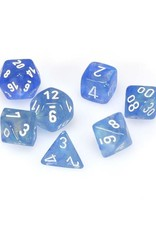 Chessex Chessex: Poly 7 Set - Borealis - Sky Blue w/ White