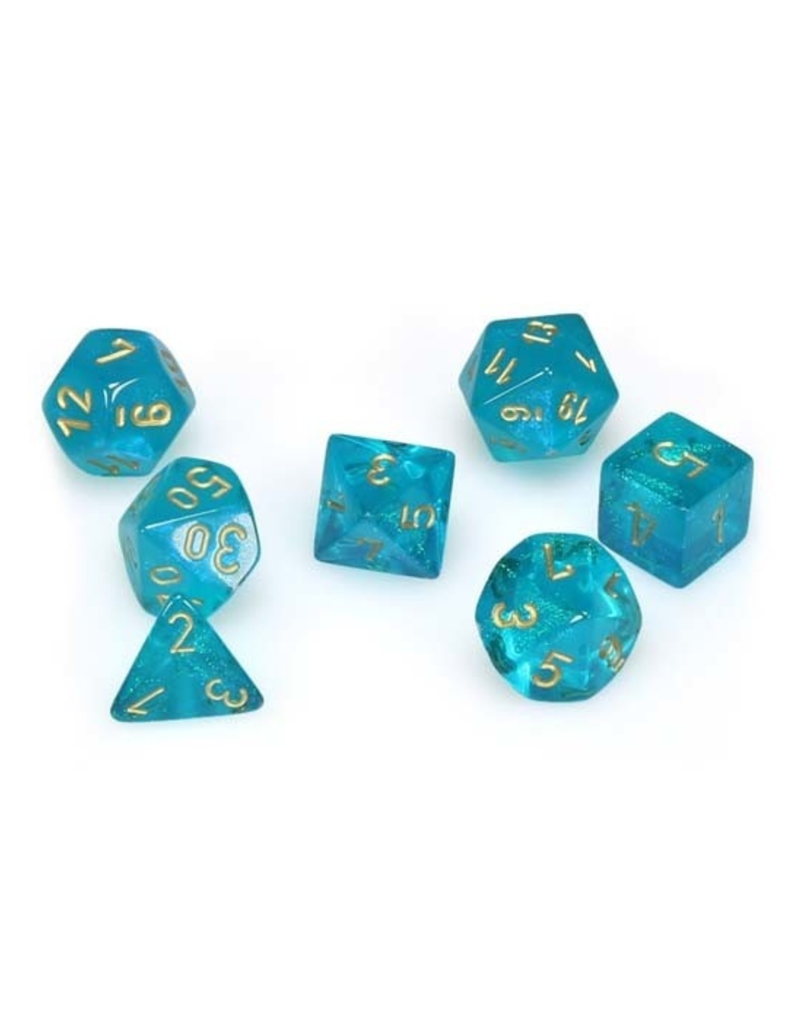 Chessex Chessex: Poly 7 Set - Borealis - Teal w/ Gold