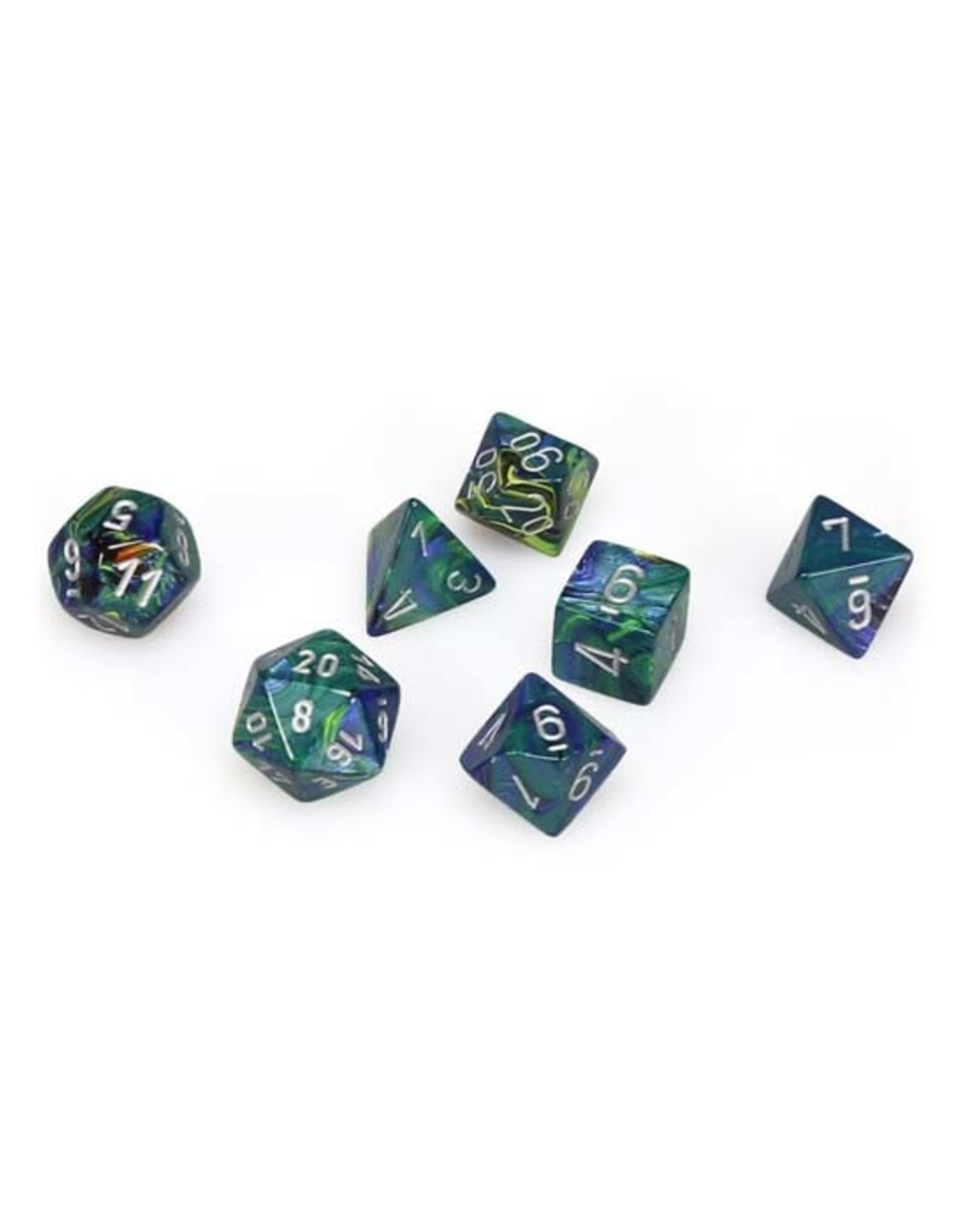 Chessex Chessex: Poly 7 Set - Festive - Green w/ Silver